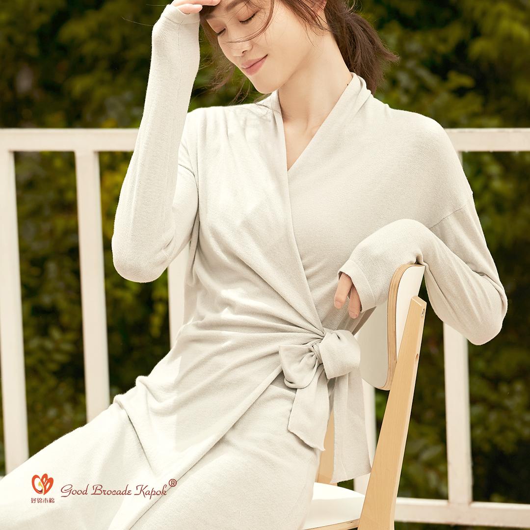 WXSL2004-09 木棉抑菌养护毛织绑带开衫